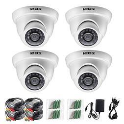 "ZOSI 4 Pack 1/3"" 1000TVL HD IR Cut CCTV Dome Home Security C"
