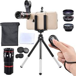 Apexel 5 in 1 Camera Lens Kit - Telephoto + Fisheye + Wide A
