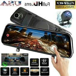 """10"""" HD 1080P Dual Lens Car DVR Dash Cam Video Camera Recorde"""