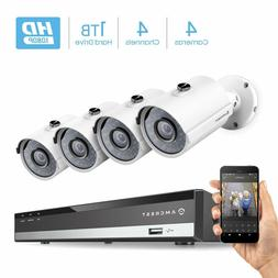 Amcrest 1080P 4CH Video Security System 4 x Bullet Cameras A