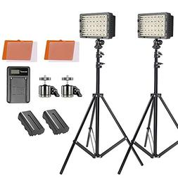 Neewer 2-pack 160 LED Video Light Dimmable Lighting Kit with