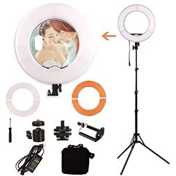 GINSON 12 Inch 180LED Mirror Ring Light with Stand,Makeup Ar