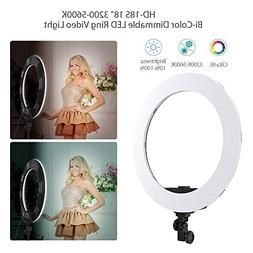 Andoer HD-18S 18 Inch Studio LED Ring Light 55W 5500K Bi-Col