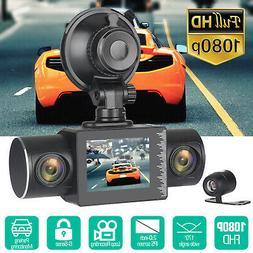 2'' HD 1080P 3Lens Car DVR Recorder Dash Cam Video Camera G-
