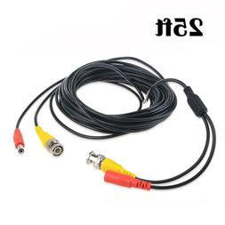 25FT Video and Power BNC Cable Cord for CCTV Security Camera
