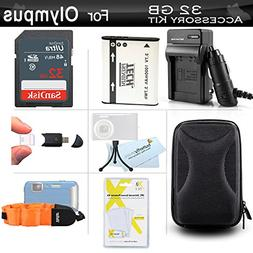 32GB Accessories Kit For Olympus Stylus Tough TG-820 iHS, TG