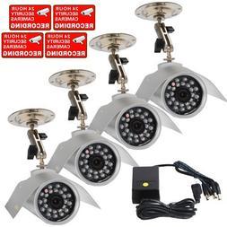 VideoSecu 4 Outdoor Bullet Security Cameras Color CCD Infrar