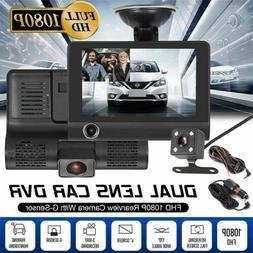 4'' FHD 1080P 3 Cameras Car DVR Dash Cam Vehicle Video Recor