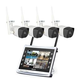 4 Cameras 720P HD LCD Wireless Home Security Surveillance Vi