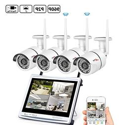 """ANRAN 4CH HD 1080 Wireless Security DVR NVR with 12"""" Monitor"""