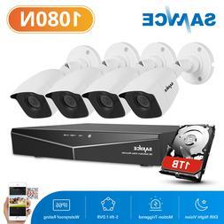 SANNCE 4CH 1080P HDMI DVR Video IR HD CCTV Security Cameras