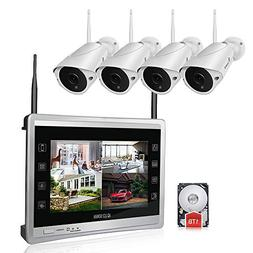 "Luowice Audio Wireless Security Camera System with 11"" Mon"