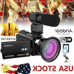Andoer 4K 1080P 48MP WiFi Digital Video Camera Camcorder Rec
