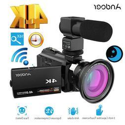 Andoer 4K 1080P 48MP WiFi Digital Video Camera Macro Lens Re