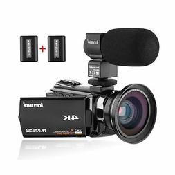 Kenuo 4K Camcorder, 48MP Portable Ultra-HD 60FPS WiFi Digita