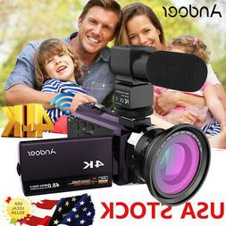 Andoer 4K HD 1080P 48MP WiFi Digital Video Camera Camcorder