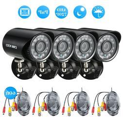 OWSOO 4pcs AHD 720P/1500TVL CCTV Cameras + 4pcs 60ft Video C