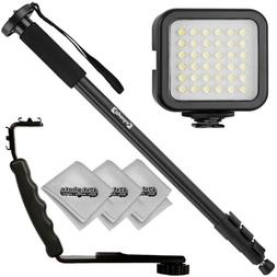 "Opteka 72"" Monopod, Flash Bracket, and Video Light for Camer"