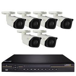 Q-See 8-Ch 4K IP PoE NVR, 6-4K PoE IP67 Rating Bullet Camera