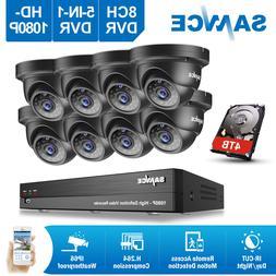 SANNCE 8CH 1080P 5IN1 CCTV DVR HD Video 2MP IR Dome Home Sec