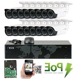 GW Security 16 Channel 4K NVR HD 1920P IP PoE Security Camer