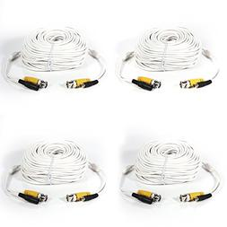Masione 4 Pack 100ft Security Camera Video Power Cable White