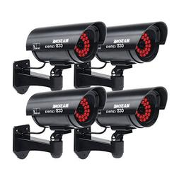 Masione 4 Pack Outdoor Fake/Dummy Security Camera with 30 Il
