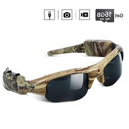WISEUP 16GB 1280x720P HD Camo Sunglasses Hidden Camera Hunti