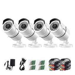 ZOSI 4 Pack 3.6mm Lens 1000TVL 960H High Resolution CMOS 36p