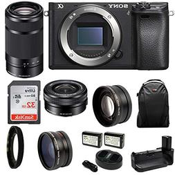 Sony a6500 Mirrorless Camera with SELP1650 and SEL55210B Len