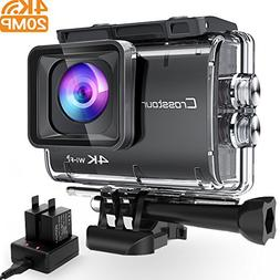 Crosstour Action Camera Real 4K 20MP WiFi Underwater Cam 40M