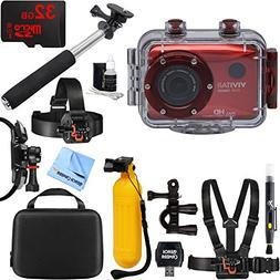 Vivitar HD Action Waterproof Camera / Camcorder Red + 32GB O