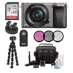 Sony Alpha a6000 Camera w/16-50mm Lens and 64GB SD Card Bund