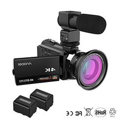 Andoer 4K Camcorder 1080P 48MP WiFi Digital Video Camera Rec