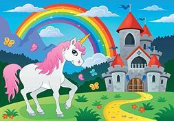 RBabyPhoto 7X5FT Baby Shower Backdrop Fairytale Castle Jungl