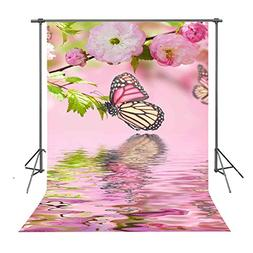 FUERMOR Background 5x7ft Pink Flowers and Butterfly Backdrop