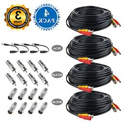 BNC Cables, JerGO 150ft 4 Pack HD Security Camera Cables Hea