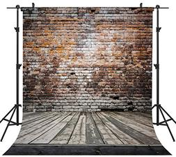 OUYIDA 10X10FT Seamless Brick Wall Poly Fabric Photo Backdro