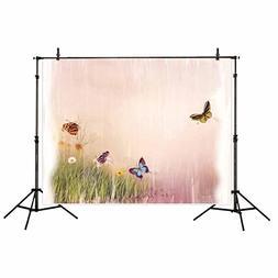 Allenjoy Butterfly Spring Backdrop 7x5ft Watercolour Green G