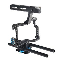 Annsm Professional Video Camera Cage with Hand Grip and Rail