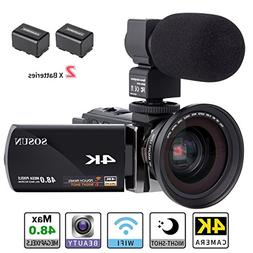 Camcorder,Video Camera 4K SOSUN 16X Digital Zoom Recorder Wi