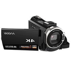 4K Camcorder,Andoer 1080P 48MP WiFi Digital Video Camera Rec