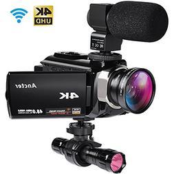 4K Camcorders, 48MP Ultra HD WiFi Video Cameras with IR Nigh