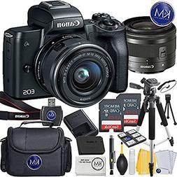 Canon EOS M50 Mirrorless Camera w/15-45mm  + 2 x 32GB + Delu