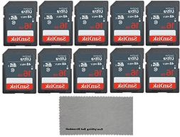 SanDisk 16 GB Class 10 SD HC Ultra Flash Memory Card - 10 Pa