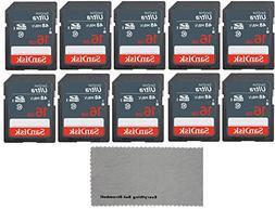 SanDisk 16 GB Class 10 SD HC Ultra Flash Memory Card - 10 Pa