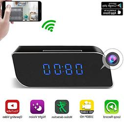 Clock Hidden Camera WiFi HD 1080P Mini Alarm desk spy clock