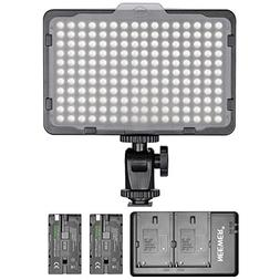 Neewer Dimmable 176 LED Video Light with 2-Pack 2600mAh Li-i