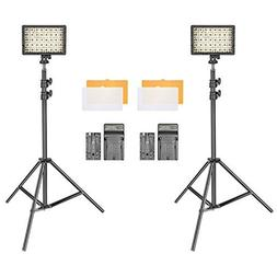 Neewer 2-Pack Dimmable 216 LED Video Light with 2200mAh Li-i