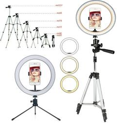 Dimmable LED Ring Light Lamp / Tripod Stand For Phone Selfie